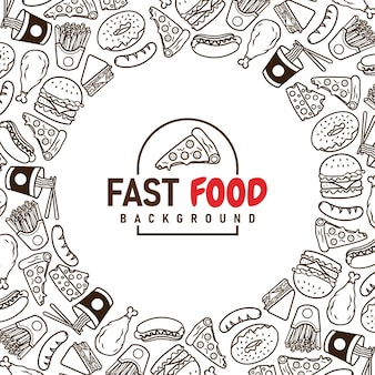 Fast food menu set of icons on the background vector