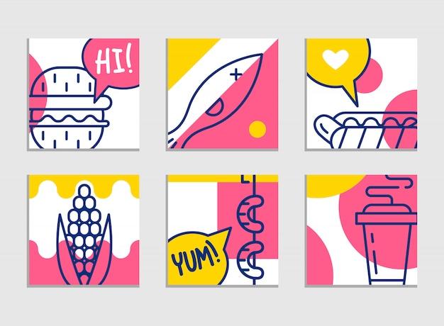 ファーストフードのメニュー。漫画の背景のセット。フレンチフライ、ハンバーガー、サツマイモフライ