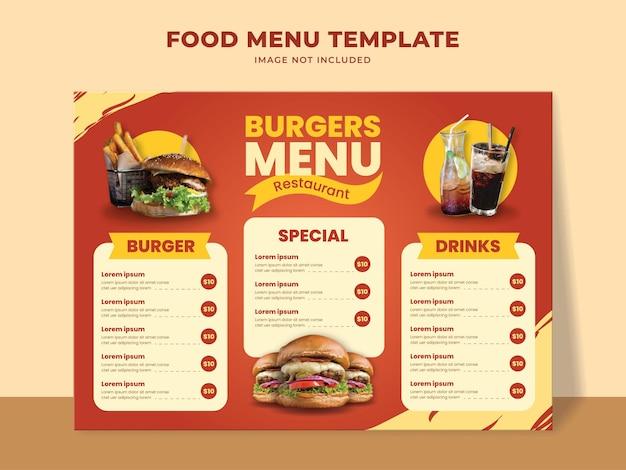 Шаблон меню быстрого питания с меню гамбургеров, напитками и другими элементами меню
