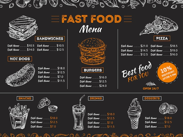 Fast food menu template with sketch food