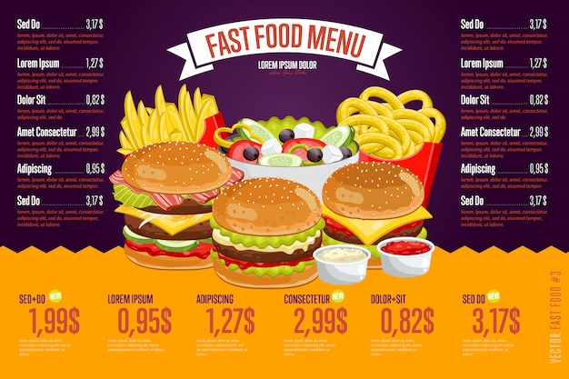 Шаблон меню быстрого питания.