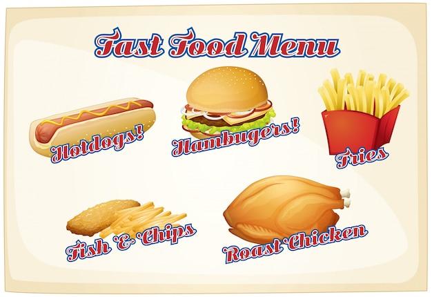 Меню быстрого питания с разнообразными блюдами