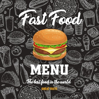 Fast food menu with cartoon burger on black chalkboard background with sketch fastfood meals. hot dog, pizza and sandwich, soda drink, french fries and tacos takeaway snacks,jjunk meals poster Premium Vector