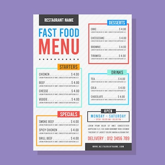 Fast food menu with colourful text boxes