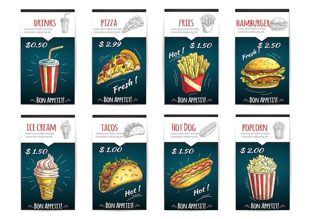 Fast food menu with description and price label. color sketch soda drinks, pizza, fries, hamburger, ice cream, tacos, hot dog, popcorn