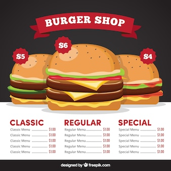 Fast food menu with three delicious burgers