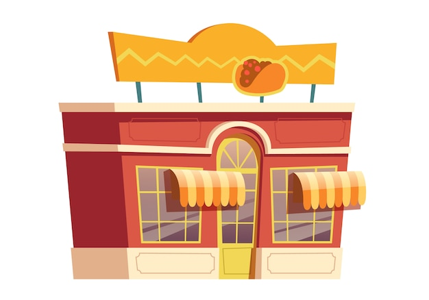 Fast food mexican restaurant building cartoon