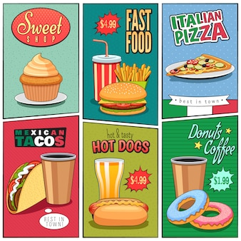 Fast food mini posters set