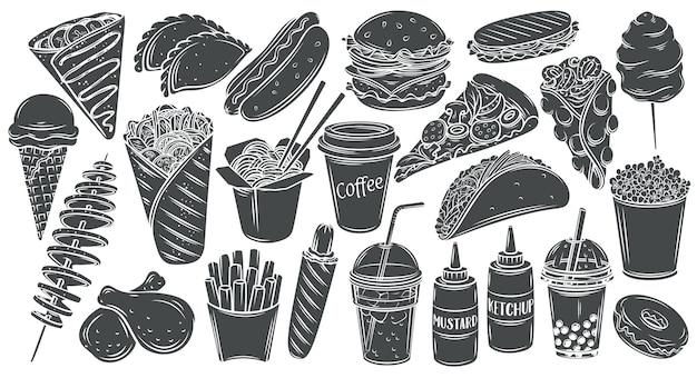 패스트 푸드 흑백 글리프 격리 집합입니다. 햄버거, 핫도그, 샤와 마, 웍 국수, 피자 등