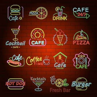 Fast food neon glow shop sign icons set.
