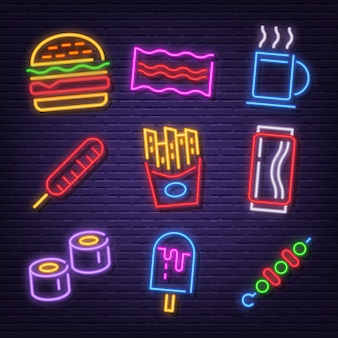 Fast food neon icons
