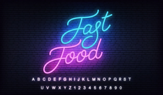Fast food neon. lettering neon template