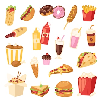 Fast food nutrition american hamburger or cheeseburger unhealthy eating concept junk fast-food snacks burger or sandwich and soda drink illustration isolated on background