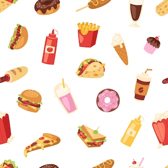 Fast food  nutrition american hamburger or cheeseburger unhealthy eating concept junk fast-food snacks burger or sandwich and soda drink illustration seamless pattern background
