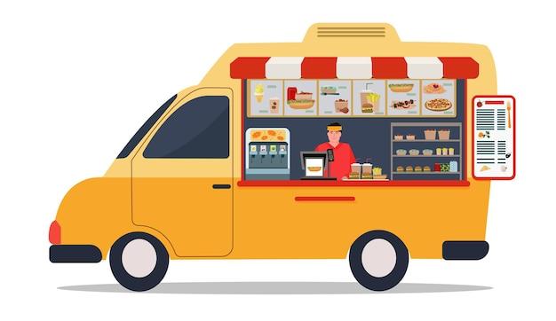 車輪付きのファーストフード、黄色いフードトラック、メニュー、笑顔の売り手。温かい食べ物や飲み物のストリートセール。