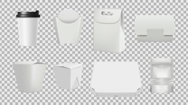 패스트 푸드 패키지. 현실적인 3d 식품 절연 종이 포장 모형. 음식, 현실적인 판지 그림 컨테이너 팩