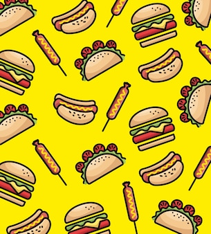 Fast food pattern background vector illustration design