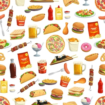Fast food pattern of burgers sandwiches illustration design