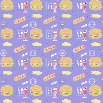 Fast food pattern - cool and modern design.