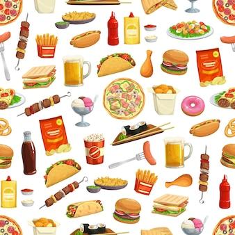 ハンバーガーサンドイッチイラストデザインのファーストフードパターン