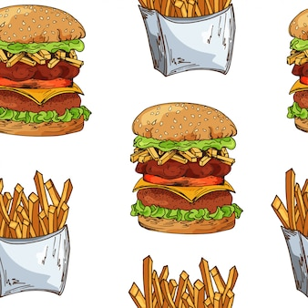 Fast food pattern with burger. hand draw retro illustration. vintage design.