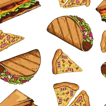 Fast food pattern with taco and pizza. hand draw retro illustration. vintage design.