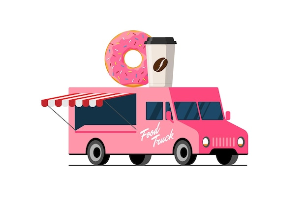 Fast food pink truck donut and coffee paper cup on van roof doughnut with hot beverage car delivery