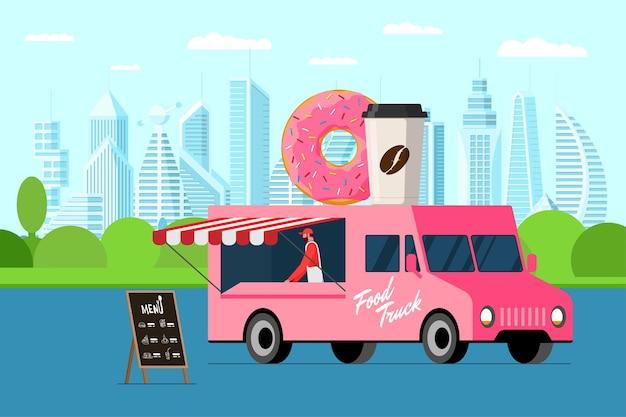 밴 지붕 도넛에 베이커 야외 도시 공원 도넛과 커피 종이 컵이 있는 패스트 푸드 핑크 트럭