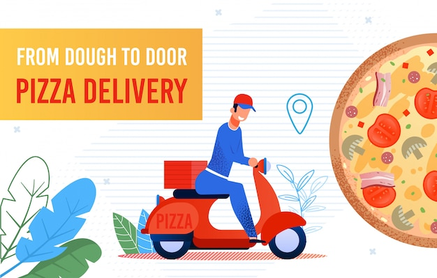 Fast food pizza delivery to door by courier banner