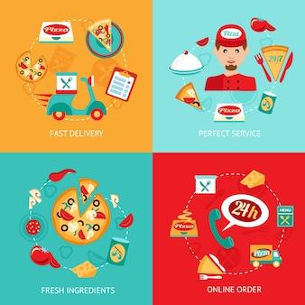 Consegna di pizza fast food perfetto servizio ingredienti freschi ordine on-line icone decorative isolato illustrazione vettoriale