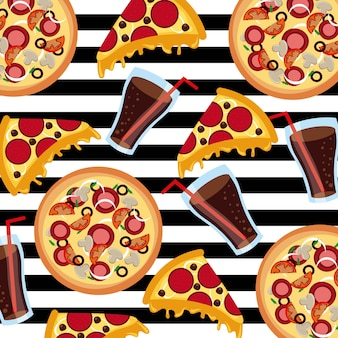 Fast food pizza soda stripes background seamless pattern