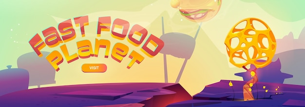 Fast food planet cartoon banner with burger sphere over alien landscape