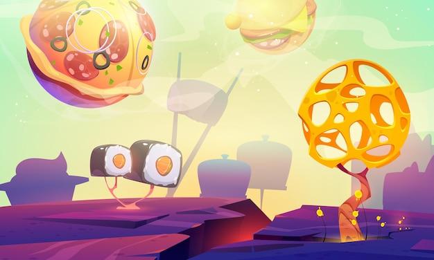 Мультфильм планета быстрого питания с сферами пиццы, бургера и суши над инопланетным ландшафтом с причудливым деревом
