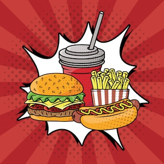 Stile pop art fast food Vettore gratuito