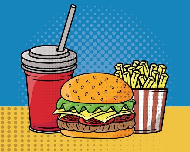 Fast food pop art style