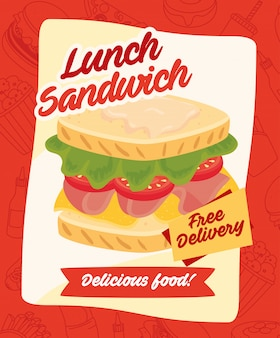 Fast food poster, free delivery, delicious lunch sandwich