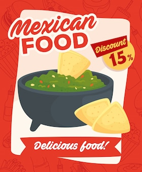 Fast food poster, mexican food, delicious guacamole and nachos, fifteen discount percent