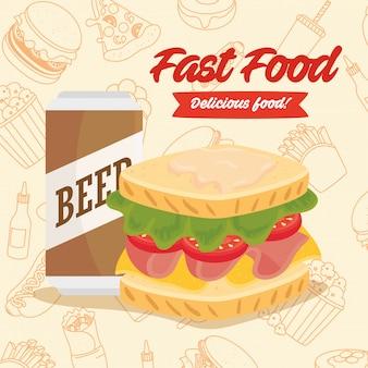 ファーストフードのポスター、缶入りビールのサンドイッチ