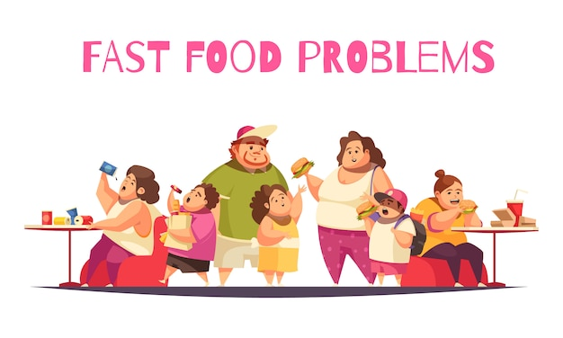 Fast food problems concept with gluttony symbols flat