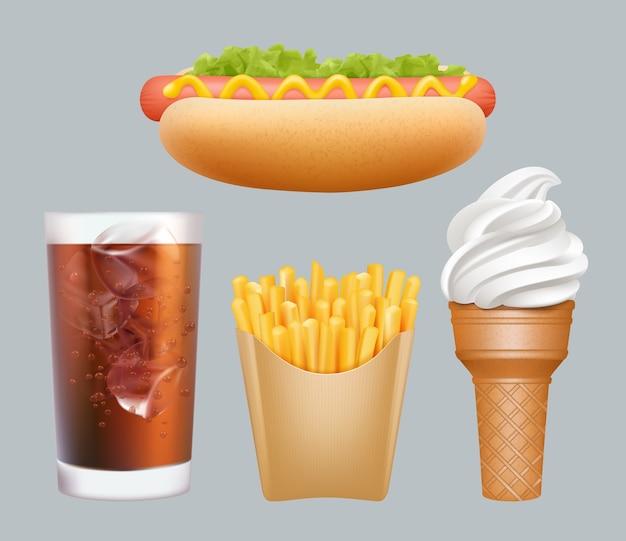 패스트 푸드. 현실적인 정크 푸드 핫도그 차가운 음료 아이스크림 감자 튀김 벡터 3d 그래픽. 음료와 뜨거운 소시지, 감자 튀김 및 아이스크림 그림