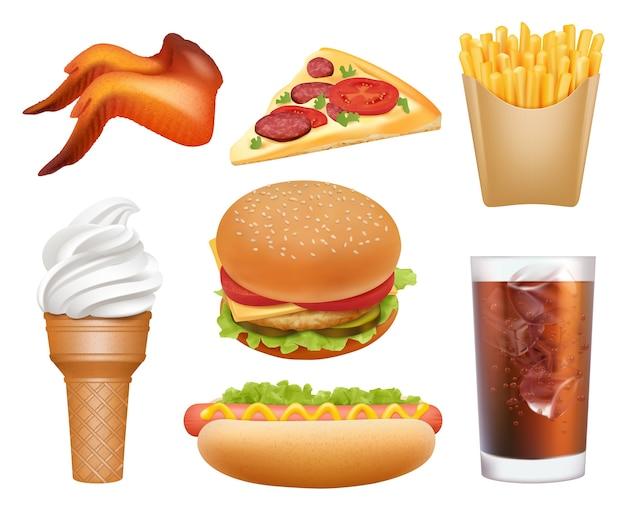 현실적인 패스트 푸드. 점심 피자 치킨 햄버거 핫도그 음료 감자 튀김 벡터 정크 쓰레기 음식 사진. 햄버거와 패스트 푸드 점심 식사, 피자 그림