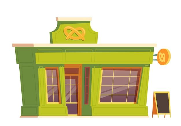 Fast food restaurant or bakery building cartoon