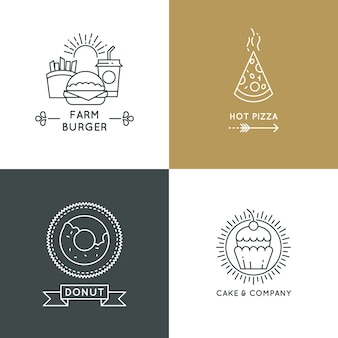 Fast food restaurant and cafe logo set in linear style