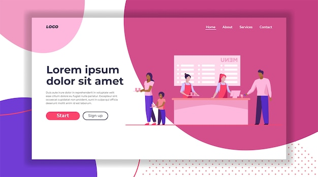 Fast food restaurant counter landing page template