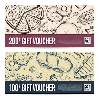 Fast food restaurant gift voucher set