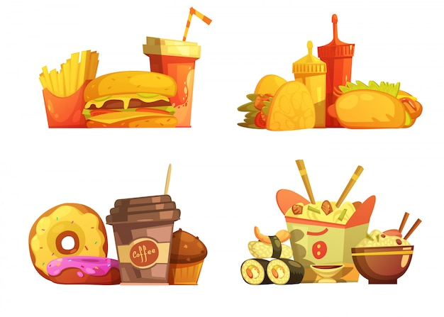 Fast food restaurant meals menu 4 samples square composition with taco and sushi cartoon