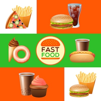 Set di banner di menu ristorante fast food