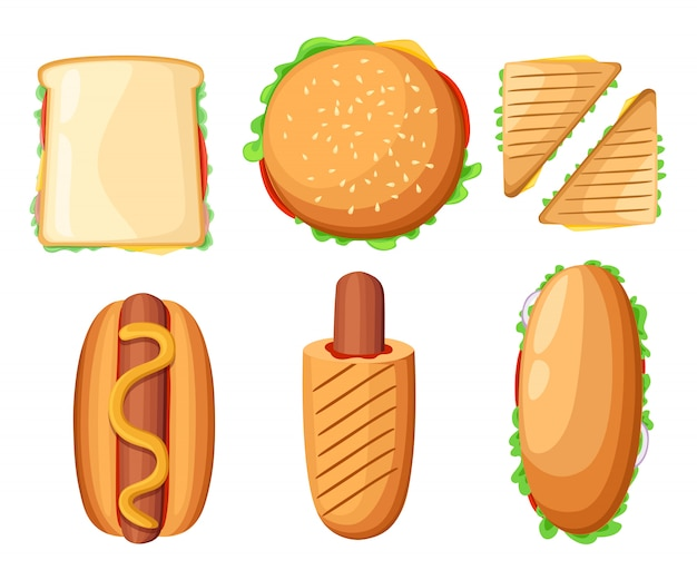 Fast food restaurant menu colorful icons collection with hotdog pizza chicken drumsticks ketchup and milkshake   illustration web site page and mobile app   element.