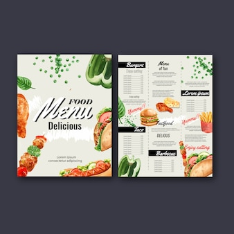 Fast food restaurant menu. frame border menu list appetizer food