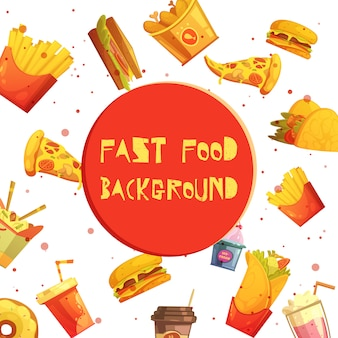 Fast food restaurant menu items decorative background or frame retro cartoon advertisement